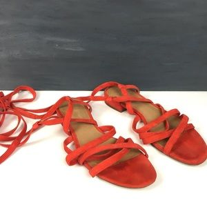 Madewell lace up ghillie sandals red suede